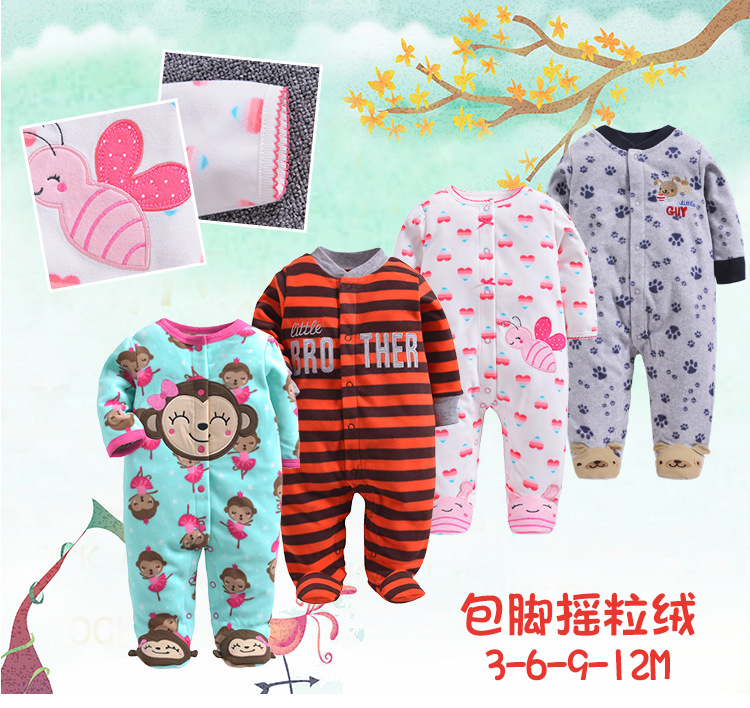 HTB1c6KHQ7zoK1RjSZFlq6yi4VXaI 2019 new Winter Fleece baby clothes baby girls boys Long sleeves bodysuit baby boy jumpsuit