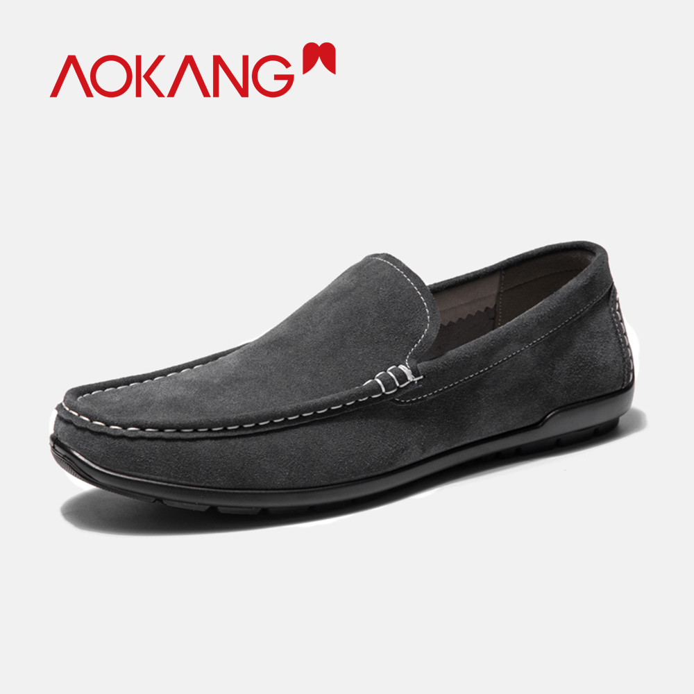 AOKANG 2019 Spring Loafers Slip On Breathable Casual Shoes Men Genuine Leather Chaussure Homme Plus Comfortable shoes men-in Men's Casual Shoes from Shoes    3