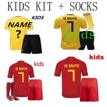 c3da15d5c Top quality 2018 world cup Belgiumes kids home away Soccer Jersey 18 19  adult Football shirt