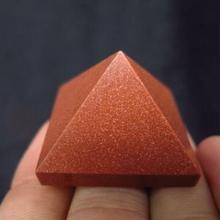 Натуральный красный золотой камень пирамида из кристалла кварца точечное Исцеление