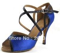 Sexy Ladies Blue Satin LATIN Shoes Ballroom Dance Shoes Salsa Tango Shoes Samba Dancing Shoes