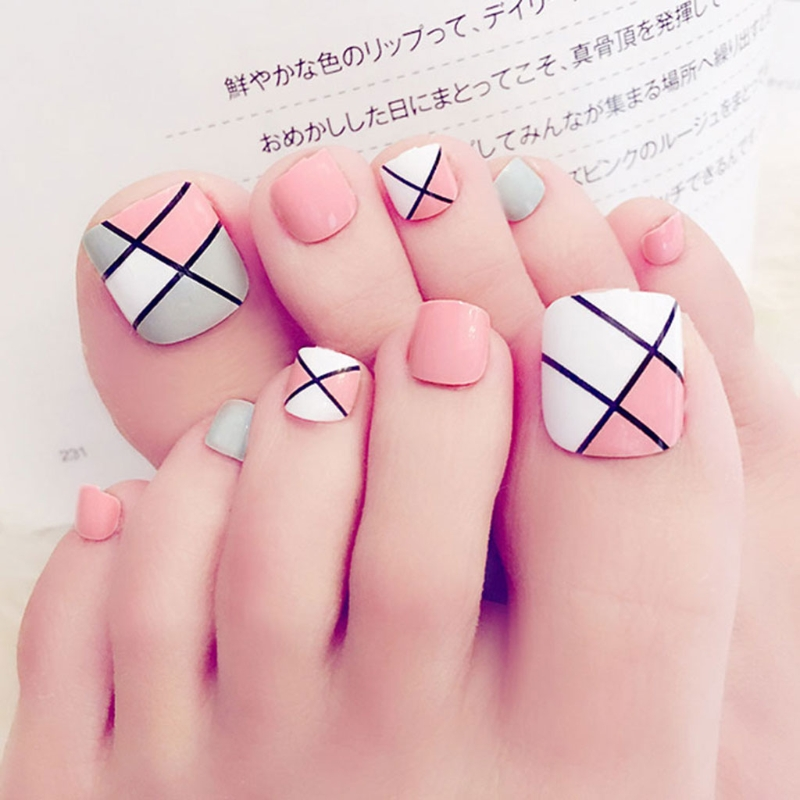 Simple Nail Art On Foot: Aliexpress.com : Buy 24Pcs Nail Sticker Multiple Color