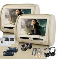 EinCar בז '2X9 ''תאום HD משענת ראש לרכב Dvd כרית זוג מסכי 32 משחקים קצת הכפול Twin MP3 של צגים עם שני IR Wirel