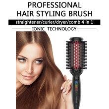 Simply Straight Electric Hair Brush Straightener Cordless Hair Iron Rotating Hair Straightener Brush LCD Straightening Comb
