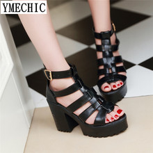 YMECHIC Rome Lady White Black Chunky Block High Heels Platform Summer Shoes  Gladiator Sandals Women Plus Size Ladies Shoes 2018 183eb1713f23