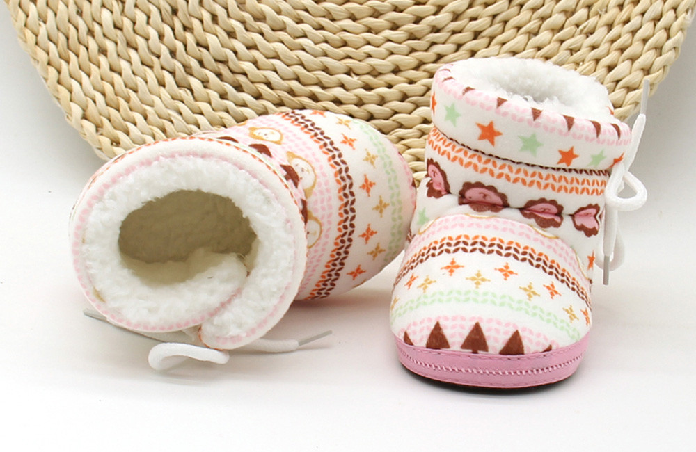 Toddler Baby Shoes Infant Newborn Baby Print Boots Soft Sole Boots Prewalker Warm Shoes Patucos Recien Nacido2.016