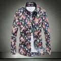 2017 As Novas Camisas Dos Homens Primavera Floral de Algodão do Homem Moda Roupas Casuais Colarinho Quadrado Quatro Estações Mangas Compridas Masculino camisas