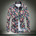 2017 The New Shirts Men Spring Floral Cotton Man's Fashion Casual Clothes Square Collar Four Seasons Long Sleeves Male Shirts