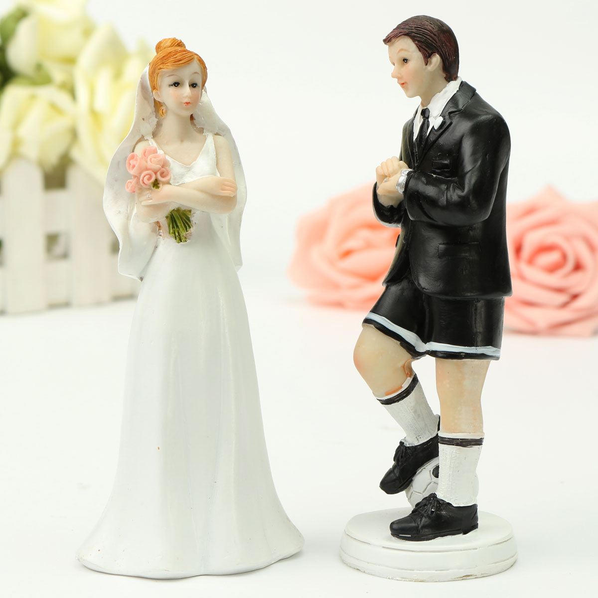 wedding cake toppers soccer 2 pcs pair wedding cake toppers figure football 8839
