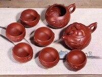 Исин фиолетовый чайник глины чайный набор 1 pots 6 чашек