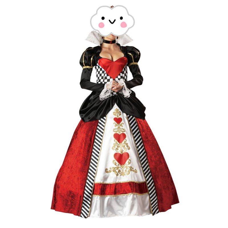 2016 Newest Halloween Costumes Adult Womens Poker Red Queen of Hearts Costume Dress Carnival Party Queen Costumes for Women