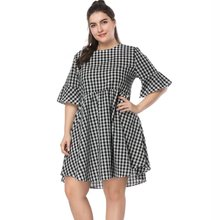 Plus Size Summer Dress Women Loose Flare Sleeve Dress Vintage Elegant A Line Mini Dress Black And White Plaid Ladies Vestidos
