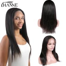 цены Lace Front Human Hair Wigs Full Lace Straight Human Wig For Black Women Natural Color Brazilian Remy Wigs Free Shipping HANNE