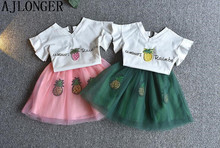 цены AJLONGER Girls Clothing Sets 2018 New Summer Girls Clothes T-shirt+Skirt 2Pcs Kids Clothing Sets For 2-6 Years