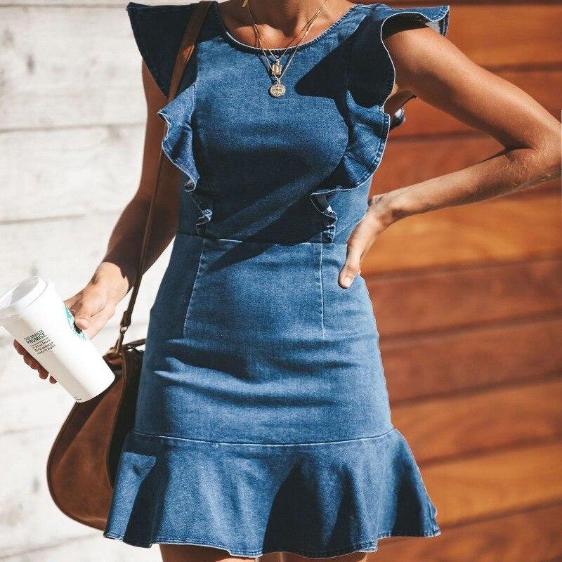 Ruffle Sleeve Denim Mini Dress