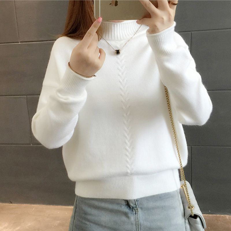 Knitted And Pullovers Women Sweater 2017 Autumn Winter Casual Turtleneck Long Sleeve Criss Cross Striped Loose