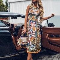 Женское летнее платье большого размера, сексуальное платье без рукавов в стиле ретро с круглым вырезом и принтом, винтажное элегантное праз...