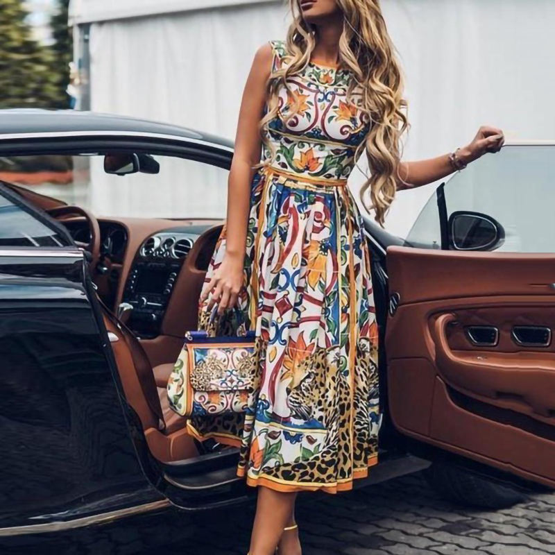 Plus Size Dress Summer Dress For Women Sexy Sleeveless Retro Print O Neck Dress Big Swing Floral Vintage Elegant Party Dresses