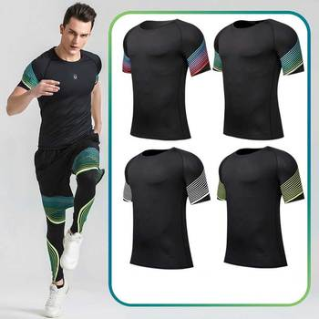 2017 Men Workout Gymming Shaper Top Tee Sporting Runs Yogaing Compress Fitness Beach Exercise T-shirts Clothing T Shirts V33
