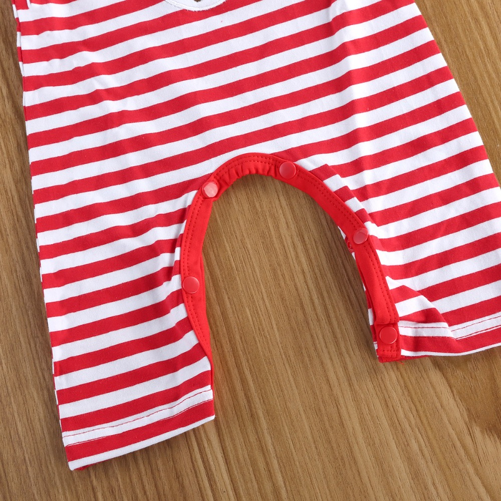 c70f685a4482 Puseky Christmas Striped Red White Baby Unisex Clothes Outfit Cotton Elk  Print Xmas Romper Jumpsuit Long Sleeve Playsuit Pajamas-in Rompers from  Mother ...