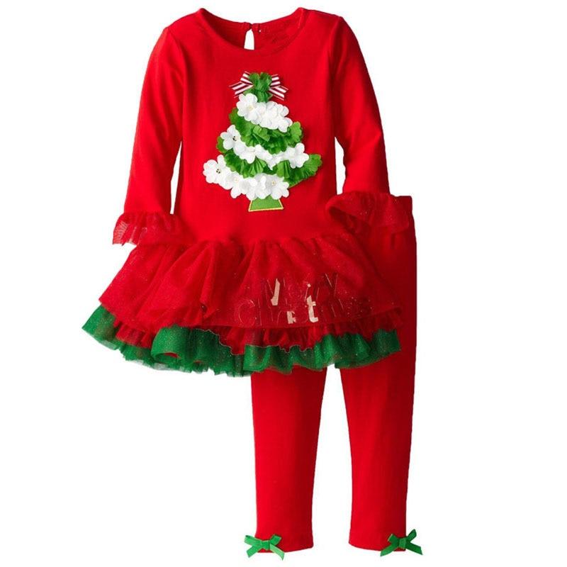 ФОТО Girls 2 Piece  Set  Christmas Birthday Costumes Vestidos100% Cotton Christmas Kids Pants Santa Claus  Nightwear Clothes Set