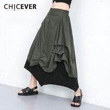 CHICEVER verano Streetwear Patchwork Hit Color falda para mujeres elástico de cintura alta asimétrica Mediados de pantorrilla faldas femeninas 2019 nuevo