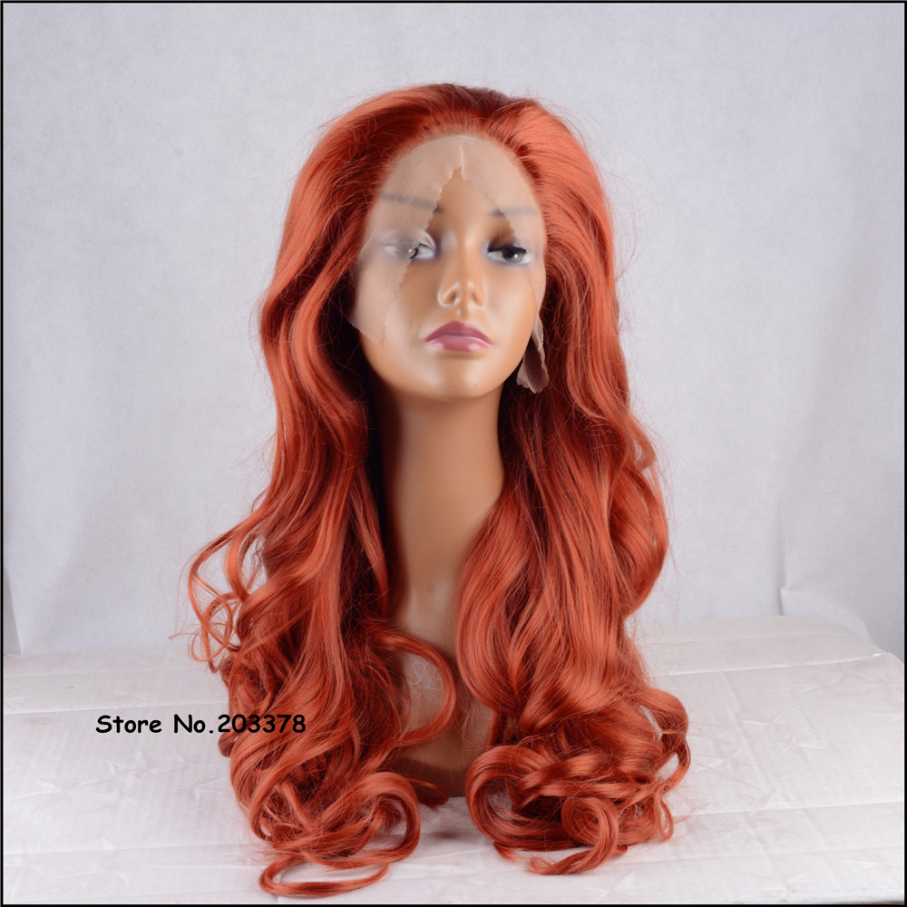 ФОТО Strong Beauty Synthetic Hair Long Wavy Orange Red Lace Front Wigs High Quality Full Wigs For Sexy Black Woman