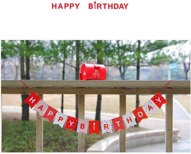 1 Sätze Rot Glücklich Geburtstag Girlande Sets Schöne Dot Streifen Bunting  Hängende Partei Baby Dusche Zimmer