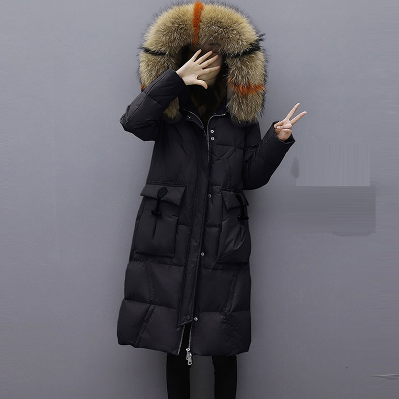 Real Fur Collar Down Jacket Women Casual Hooded Long Thicken Warm Down Coat Outwears Winter Female White Duck Down Parkas YP2151