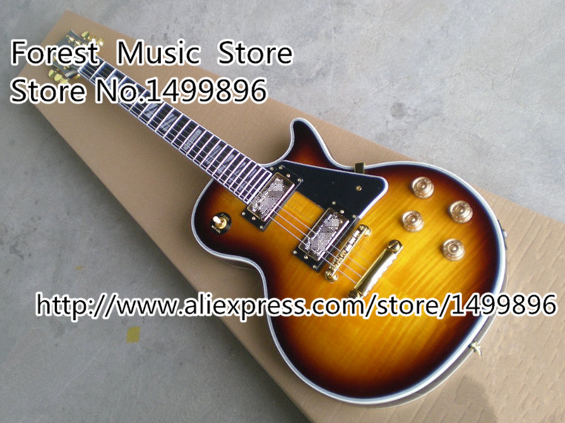 Top Selling Vintage Sunburst Tiger Flame LP Custom Binding Body Electric Guitar with Split Block Inlay Kits Lefty Available new arrival acrylic plexiglass lp china guitar electric clear guitar body puc style pickup lefty custom available