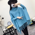 2016 Autumn Autumn long-sleeved sweater knitted shawl fringed new high collar hedging loose commuter solid color suit