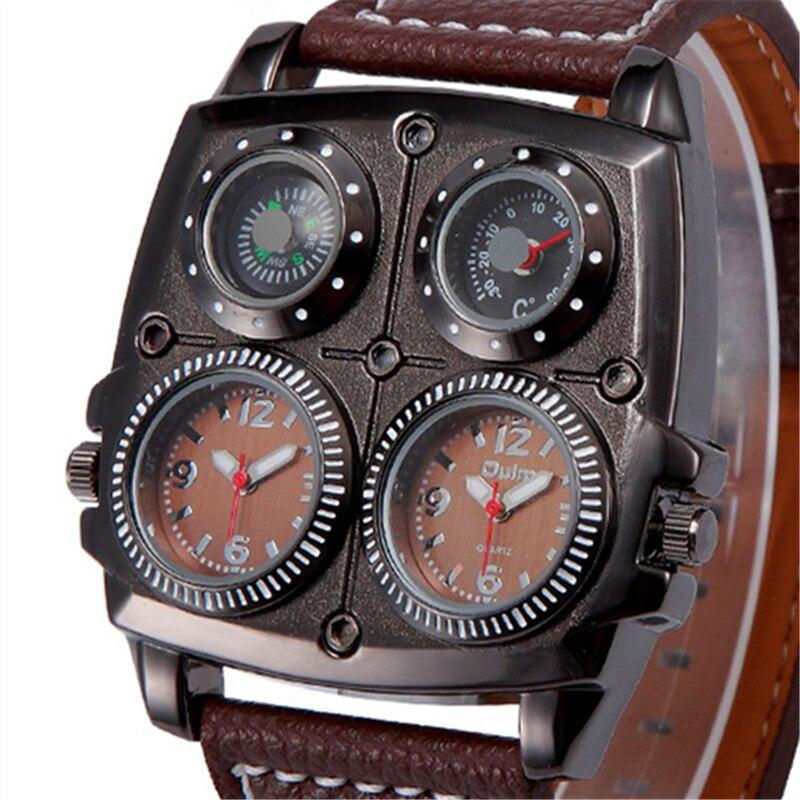 Лидер продаж OULM 1140 Топ Модный бренд Роскошные Часы Для мужчин 2 время 5 см большой открытый Компасы термометр кожаный ремешок Кварцевые часы
