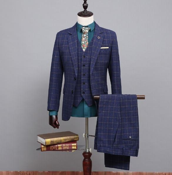 Latest Coat Pant Designs Blue Pattern Tweed Men Suit Slim Fit 3 Piece Gentle Suits Tuxedo Custom Groom Blazer Terno Masculino S