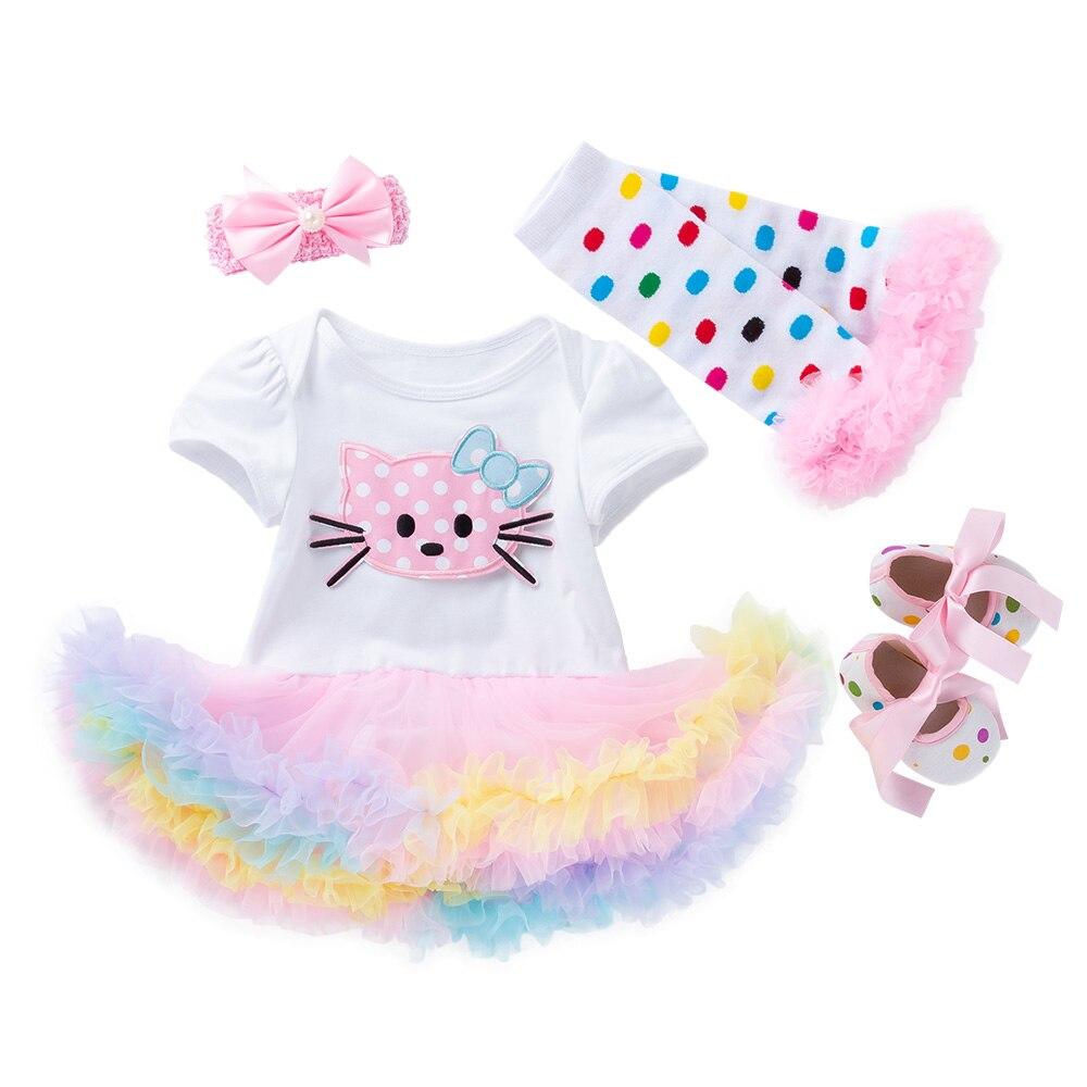 Newborn Infant Baby Girl Outfits Mama Print Romper Leg Warmers 4pcs Clothes Set Headband Tutu Skirts