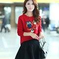 2015 горячая распродажа мода корейский стиль сова рисунок с длинными рукавами дамская пуловеры утолщаются свитер
