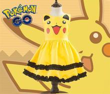 Обувь для девочек Пикачу Симпатичные бальное платье детское платье симпатичное платье Костюм Аниме Косплэй Pokemon Go костюмы с бантом платье для дня рождения
