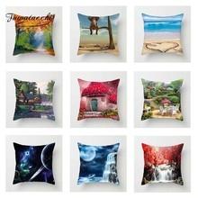 Fuwatacchi Colorful Scenic Cushion Cover Sea Tree   Soft Throw Pillow Cover Decorative Sofa Pillow Case Pillowcase elephant girl and tree nature landscape design sofa pillow case