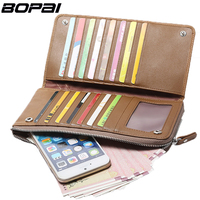 BOPAI Slim Wallet With Slots Multifunctional Genuine Leather Men Wallets Coin Pocket Zipper Mobile Phone Bag