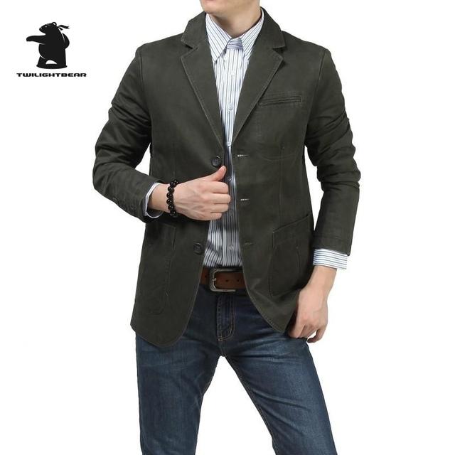 Hombres de la marca Casual Blazers Militar Diseñador de Moda Más El Tamaño de Algodón de Alta Calidad 100% de Los Hombres Ocasionales Del Juego Del Ocio Abrigo D16E1320