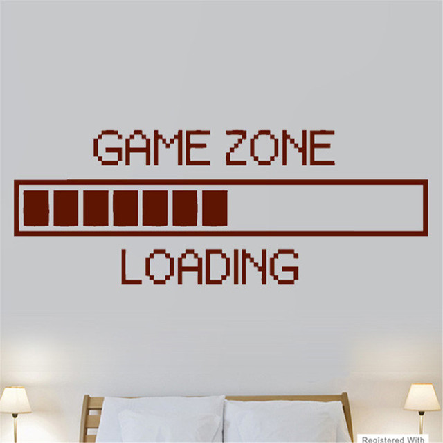 game zone loading ps3 ps4 xbox boys bedroom wall art stickers decals vinyl home game room wall. Black Bedroom Furniture Sets. Home Design Ideas