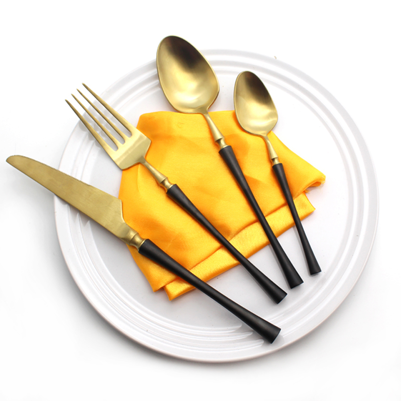 Brand Dinnerware Set 4Pcs Set Metal Stainless Steel Flatware Set Knife Fork Spoon Cutlery Set Flatware