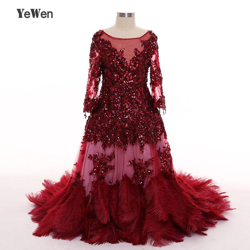 YeWen Beach Ostrich Feathers China Long Sleeves   flower     girl     dresses   for weddings 2018 kids evening gowns mother daughter gowns