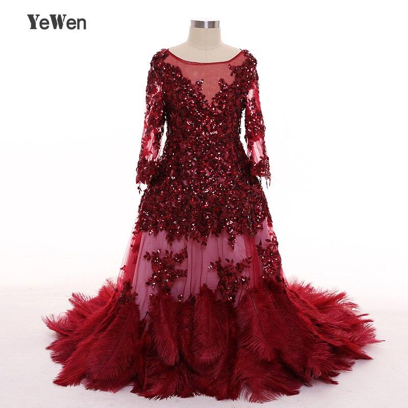 YeWen plage autruche plumes chine manches longues robes de demoiselle d'honneur pour les mariages 2018 enfants robes de soirée mère fille robes