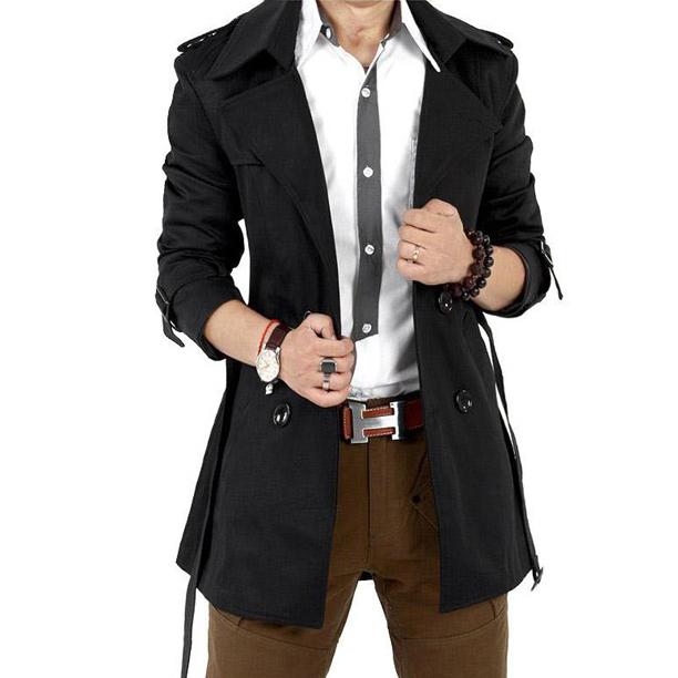2016 Otoño Trench Coat Hombres Trinchera Hombres de la Capa Ocasional Prendas de Vestir Exteriores de Doble Botonadura Abrigo Rompevientos Chaqueta de Los Hombres Para Hombre de la Gabardina