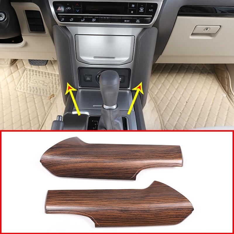 2 pièces Pin Grain de Bois Pour Toyota Land Cruiser Prado FJ150 150 2018 ABS Console centrale Panneau De Décoration Garniture Accessoires