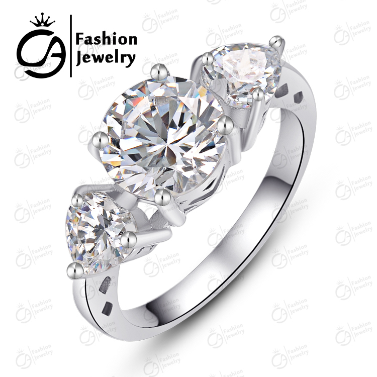 Aliexpress Buy White Gold Halo Three Stone Round Cut Heart Cubic Zirconia Engagement Wedding Bands Ring R88111 From Reliable Band Suppliers On