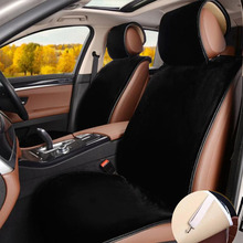 Car Seat Covers Set Black Faux Fur Cute Interior Accessories Cushion Styling Winter New Plush Pad for