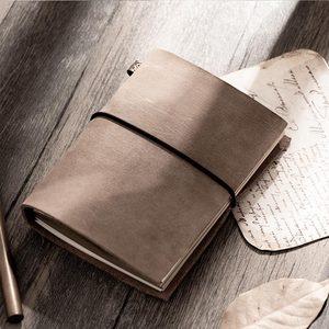 Image 1 - Moda hakiki deri bağbozumu seyahat mini dizüstü bilgisayar inek derisi günlüğü basit klasik kız erkek arkadaşı seyahat binder küçük kitap