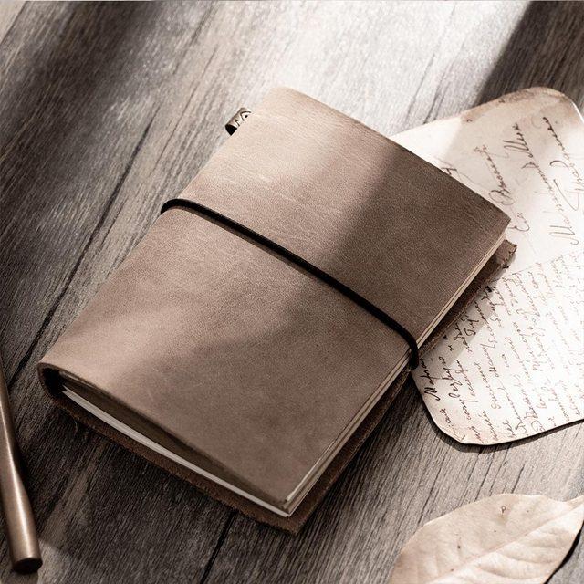 Moda hakiki deri bağbozumu seyahat mini dizüstü bilgisayar inek derisi günlüğü basit klasik kız erkek arkadaşı seyahat binder küçük kitap