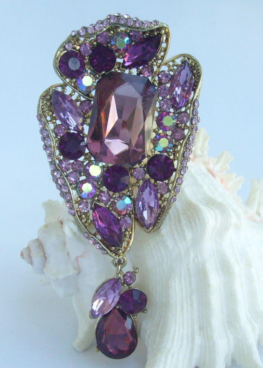 """4,1"""" слеза Цветочная брошка заколка медальон фиолетовые стразы, кристалл EE04990C4"""